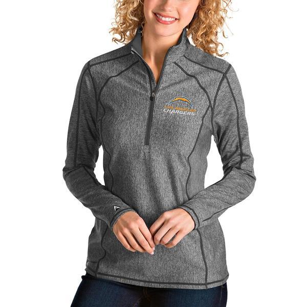 アンティグア レディース ジャケット&ブルゾン アウター Los Angeles Chargers Antigua Women's Tempo Quarter-Zip Pullover Jacket Heather Charcoal