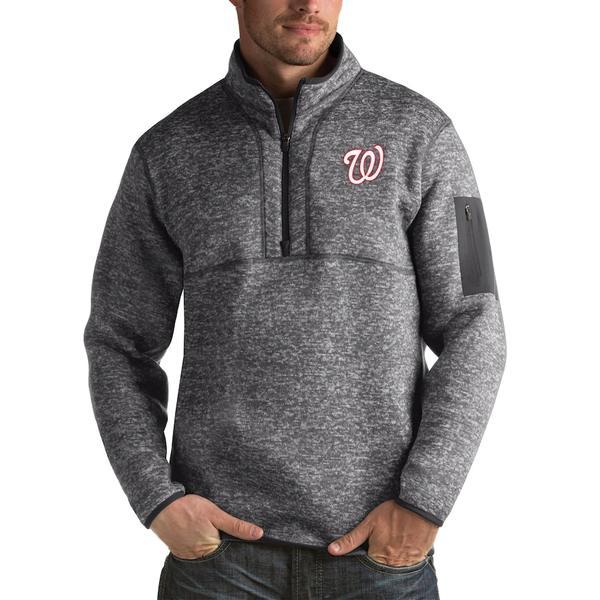 アンティグア メンズ ジャケット&ブルゾン アウター Washington Nationals Antigua Fortune Big & Tall Quarter-Zip Pullover Jacket Heather Charcoal