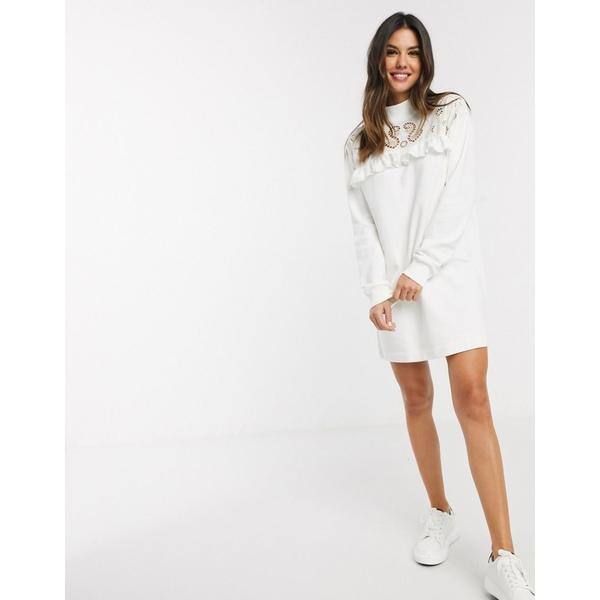 リバーアイランド レディース ワンピース トップス River Island broderie front detail sweat dress in cream Cream