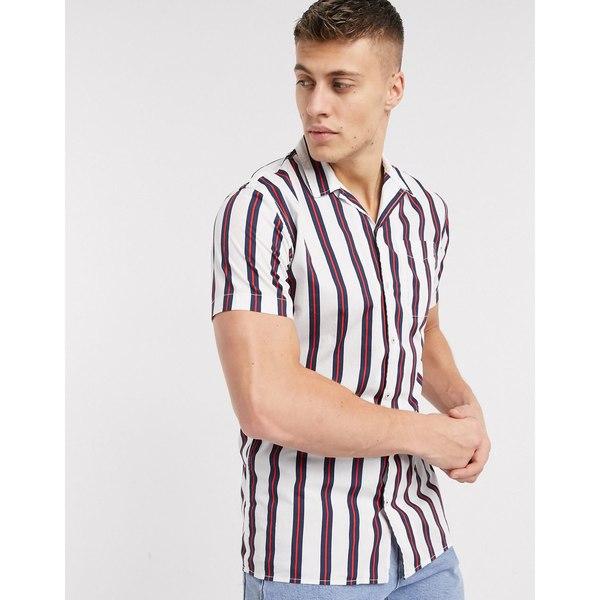 ジャック アンド ジョーンズ メンズ シャツ トップス Jack & Jones essentials stripe short sleeve shirt with stripe Cloud dancer