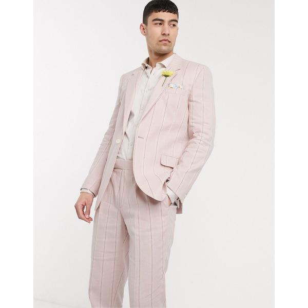 エイソス メンズ ジャケット&ブルゾン アウター ASOS DESIGN wedding slim suit jacket in stretch cotton linen in pink and white stripe Pink