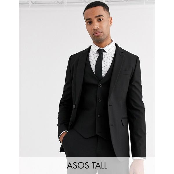 エイソス メンズ ジャケット&ブルゾン アウター ASOS DESIGN Tall skinny suit jacket in black Black