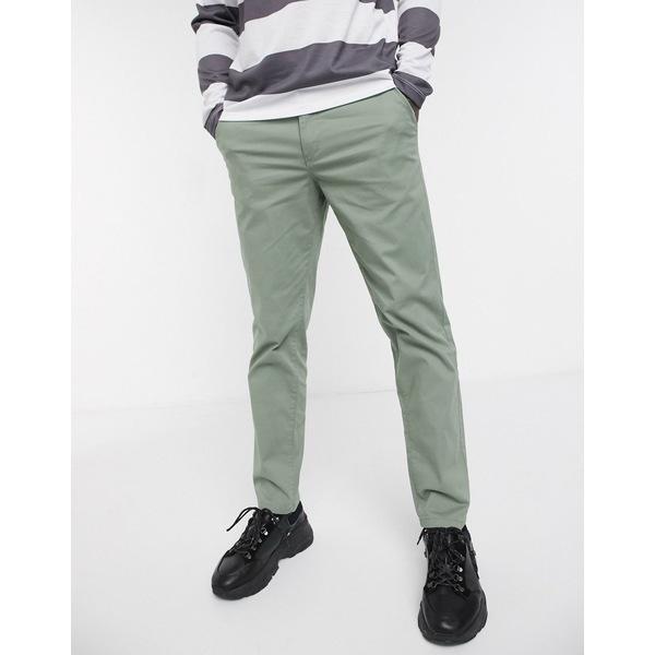 セレクテッドオム メンズ カジュアルパンツ ボトムス Selected Homme organic cotton straight fit chino pants in light green Sea spray