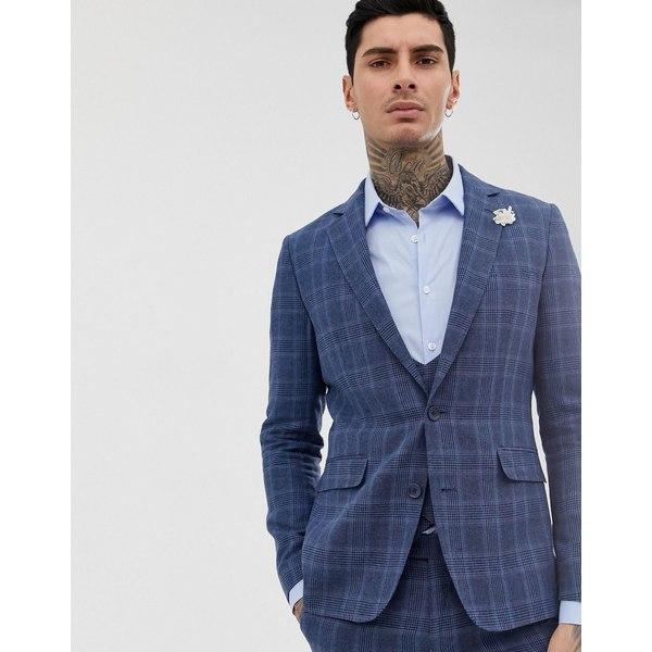 ジアーフラウド メンズ ジャケット&ブルゾン アウター Gianni Feraud slim fit linen blend check suit jacket Blue