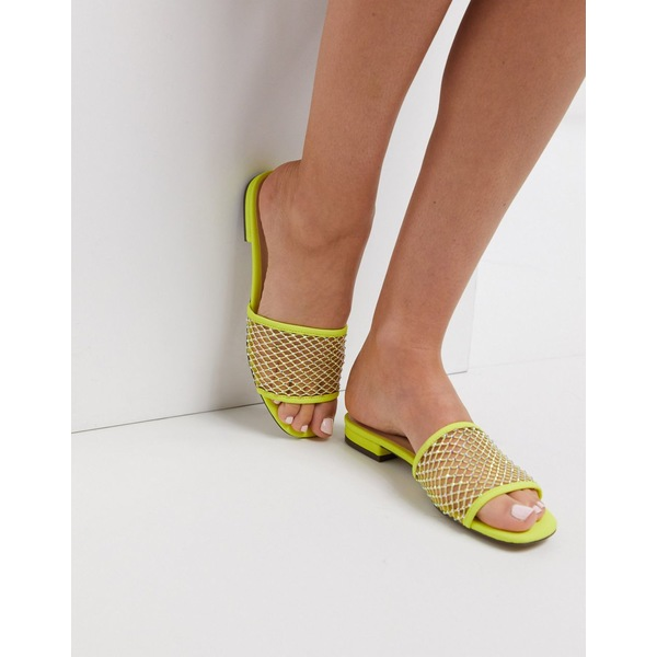 キューピッド レディース サンダル シューズ Qupid embellished flat sliders Yellow