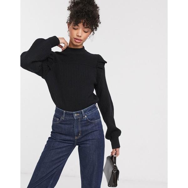 アンドアザーストーリーズ レディース ニット&セーター アウター & Other Stories ruffle shoulder ribbed sweater in black Black