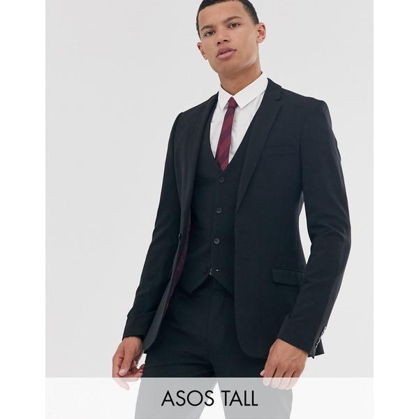 エイソス メンズ ジャケット&ブルゾン アウター ASOS DESIGN Tall super skinny fit suit jacket in black Black