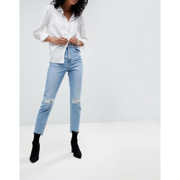 エイソス レディース デニムパンツ ボトムス ASOS DESIGN Farleigh high waisted slim mom jeans in light vintage wash with busted knee and rip & repair detail Light stone