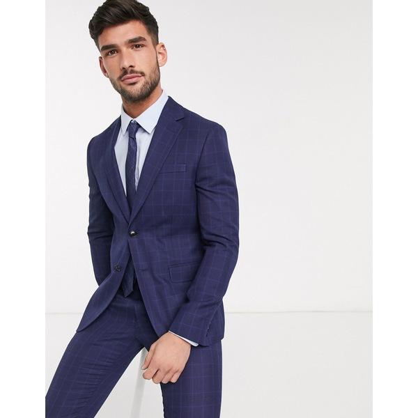 モスブロス メンズ ジャケット&ブルゾン アウター Moss London eco suit jacket in blue check Blue