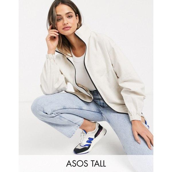 エイソス レディース コート アウター ASOS DESIGN Tall linen oversized bomber jacket in cream Cream