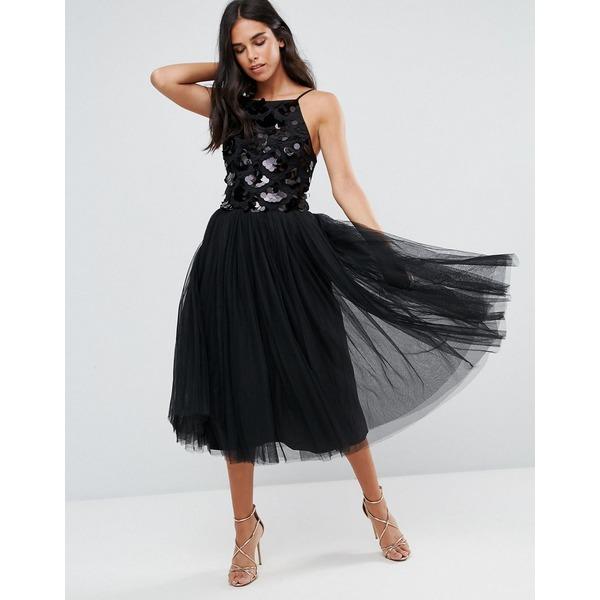 リトルミストレス レディース ワンピース トップス Little Mistress Tulle Dress With Sequin Upper Black