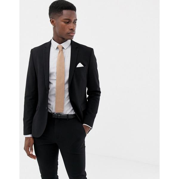 オンリーアンドサンズ メンズ ジャケット&ブルゾン アウター Only & Sons slim suit jacket Black