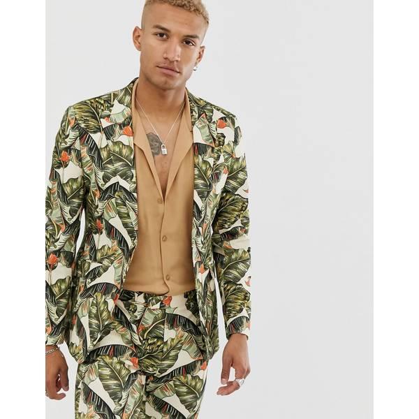 エイソス メンズ ジャケット&ブルゾン アウター ASOS DESIGN skinny suit jacket in cotton with leaf print Green