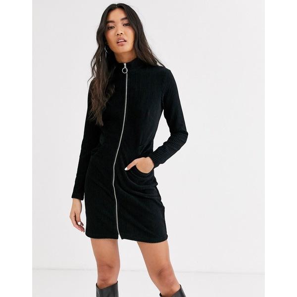 アンドアザーストーリーズ レディース ワンピース トップス & Other Stories zip detail mini dress in black Black