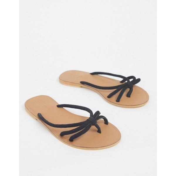 エイソス レディース サンダル シューズ ASOS DESIGN First Class knotted suede toe post sandal in black Black