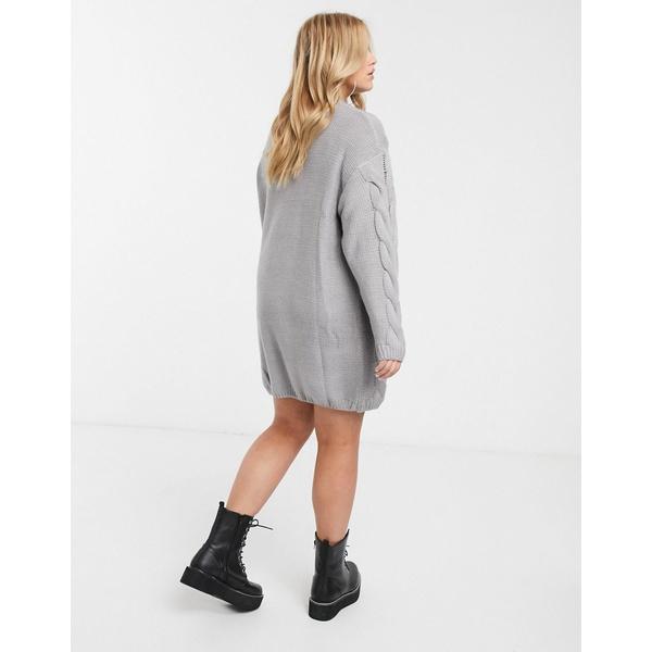 ミスガイデッド レディース ニット&セーター アウター Missguided Plus cable knit sweater dress in gray Gray