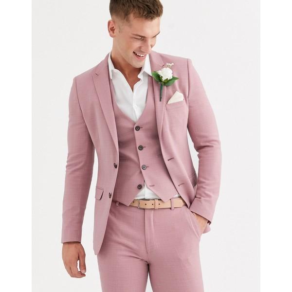エイソス メンズ ジャケット&ブルゾン アウター ASOS DESIGN wedding super skinny suit jacket in crosshatch in rose pink Pink