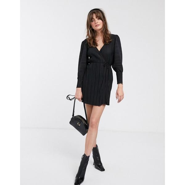 アンドアザーストーリーズ レディース ワンピース トップス & Other Stories plisse mini wrap dress in black Black