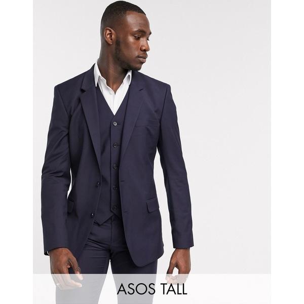 エイソス メンズ ジャケット&ブルゾン アウター ASOS DESIGN Tall slim suit jacket in navy Navy