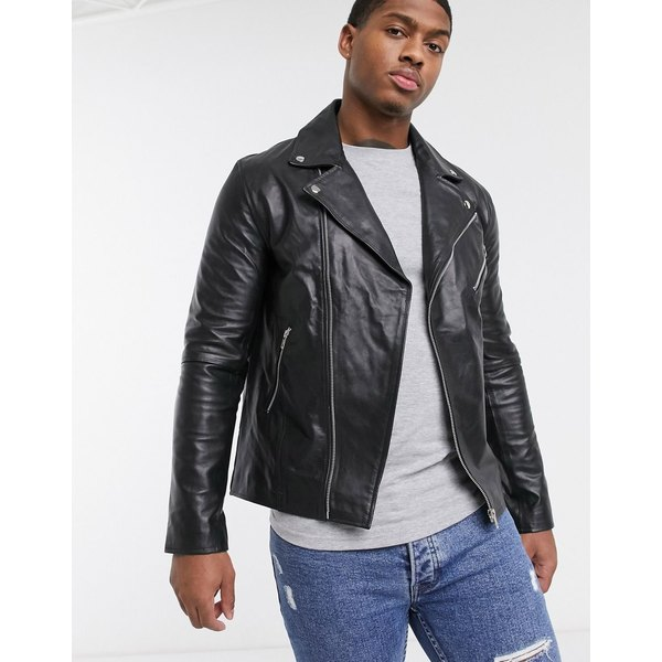 ルブレーブ メンズ ジャケット&ブルゾン アウター Le Breve real leather biker jacket Black