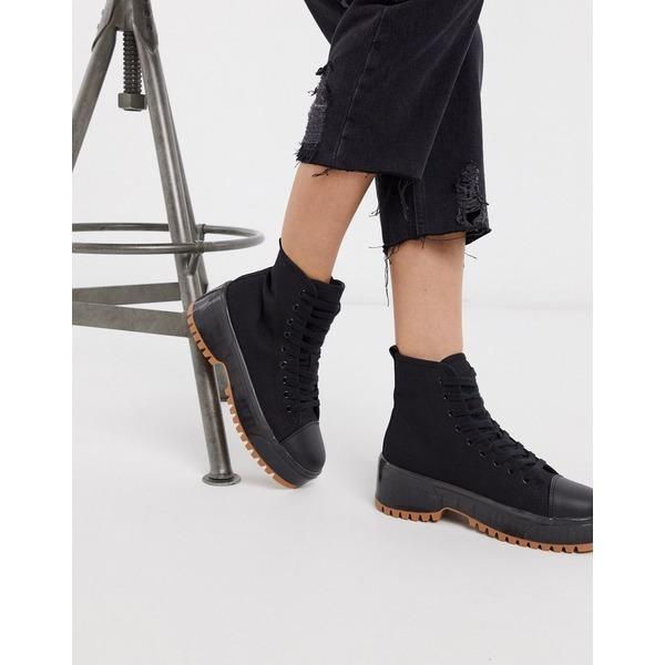 トゥラッフル レディース ブーツ&レインブーツ シューズ Truffle Collection canvas chunky lace up boot Black