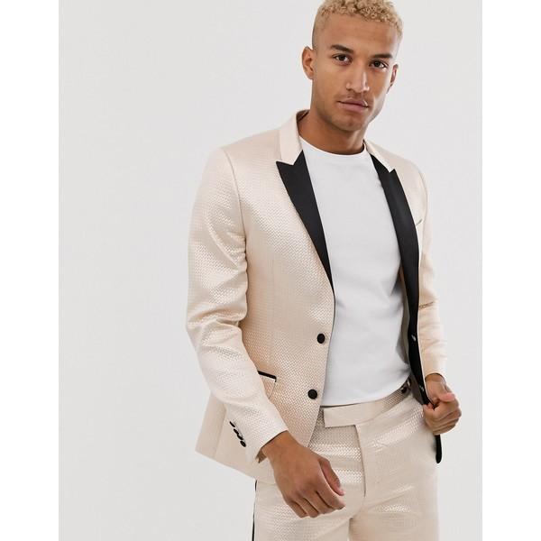 エイソス メンズ ジャケット&ブルゾン アウター ASOS DESIGN skinny tuxedo prom suit jacket in champagne jacquard Cream