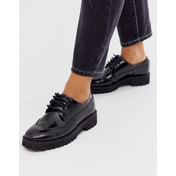 エイソス レディース シューズ スニーカー Black 送料無料新品 全商品無料サイズ交換 ASOS DESIGN Metaphor leather in toe shoes flat black up lace chunky square オープニング 大放出セール