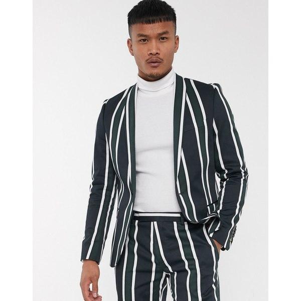 ツイステッドテイラー メンズ ジャケット&ブルゾン アウター Twisted Tailor suit jacket with bold stripe in green Green/navy