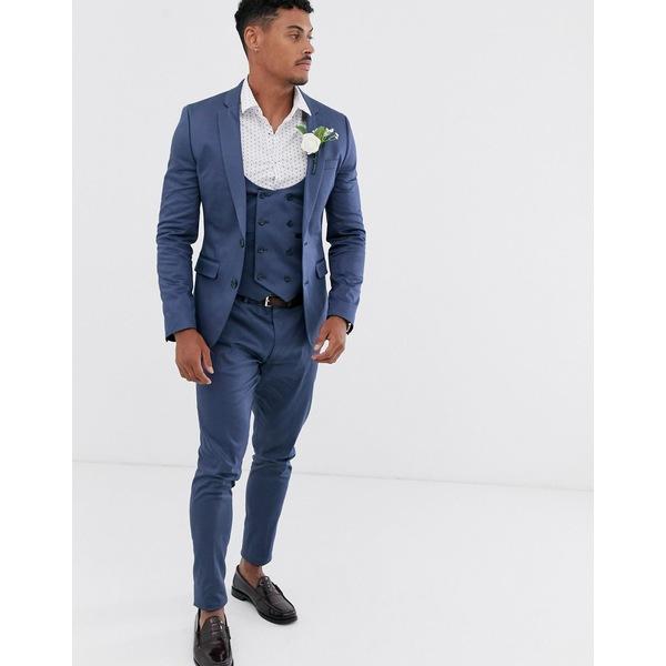 エイソス メンズ ジャケット&ブルゾン アウター ASOS DESIGN wedding super skinny suit jacket in stretch cotton in indigo blue Blue