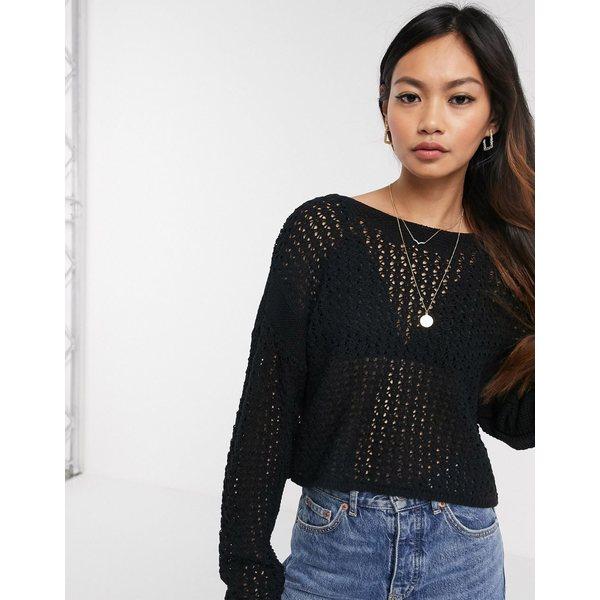 エイソス レディース ニット&セーター アウター ASOS DESIGN mock crochet tie back sweater Black