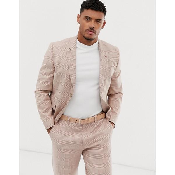 エイソス メンズ ジャケット&ブルゾン アウター ASOS DESIGN skinny crop suit jacket in cream linen check Cream