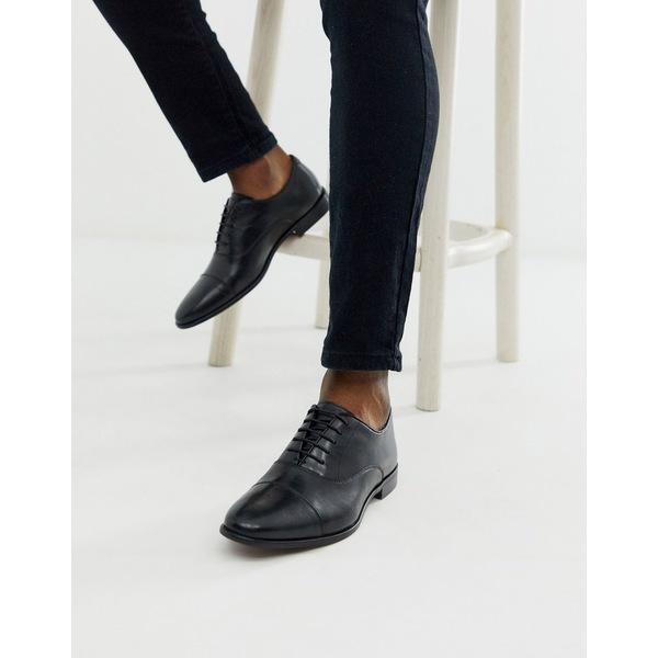 ウォークロンドン メンズ スニーカー シューズ Walk London alfie toe cap oxford shoes in black leather Black