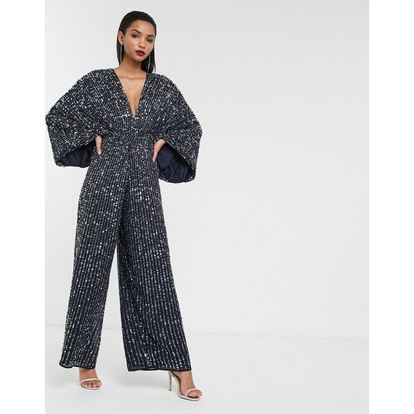 エイソス レディース ワンピース トップス ASOS EDITION sequin kimono sleeve wide leg jumpsuit Navy