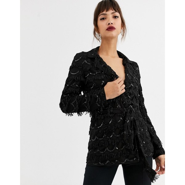 エイソス レディース ジャケット&ブルゾン アウター ASOS EDITION oversized blazer with scalloped beaded fringe Black