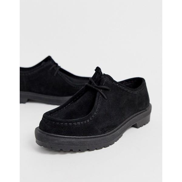 エイソス レディース スニーカー シューズ ASOS DESIGN Morocco leather chunky lace up flat shoes in black Black