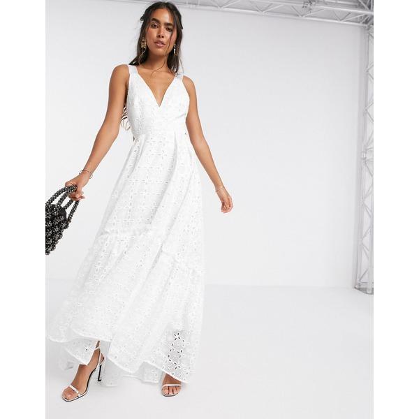 エイソス レディース ワンピース トップス ASOS EDITION shimmer broderie trapeze maxi dress White