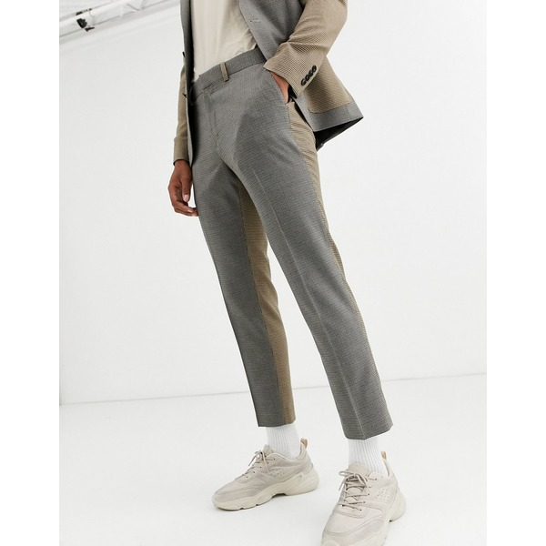 エイソス メンズ カジュアルパンツ ボトムス ASOS DESIGN skinny crop suit pants in contrast micro check Beige