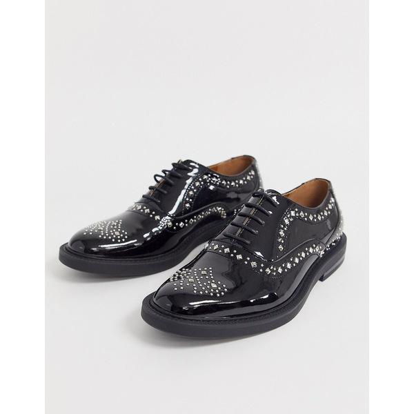 エイソス メンズ スニーカー シューズ ASOS DESIGN brogue shoes in black patent faux leather with studding detail Black