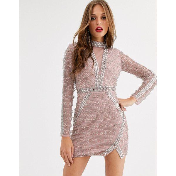 エイソス レディース ワンピース トップス ASOS EDITION ring & bead mini bodycon dress Blush