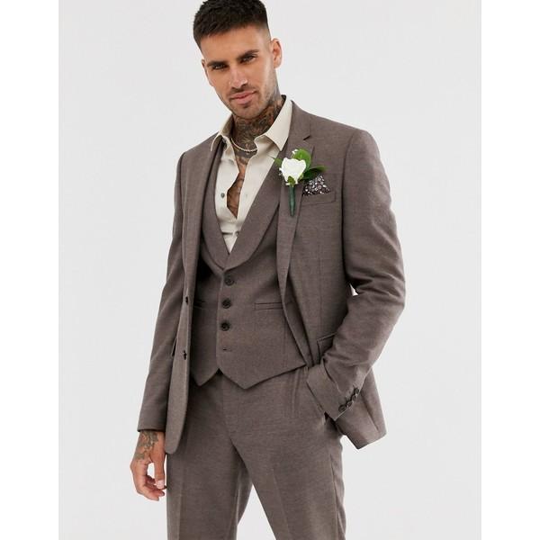 エイソス メンズ ジャケット&ブルゾン アウター ASOS DESIGN wedding skinny suit jacket in soft brown twill Brown