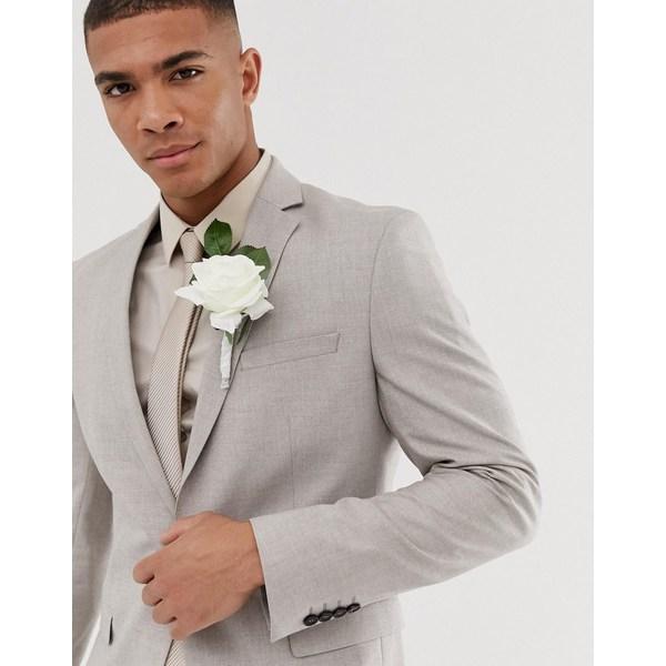 セレクテッドオム メンズ ジャケット&ブルゾン アウター Selected Homme skinny suit jacket in sand Light sand