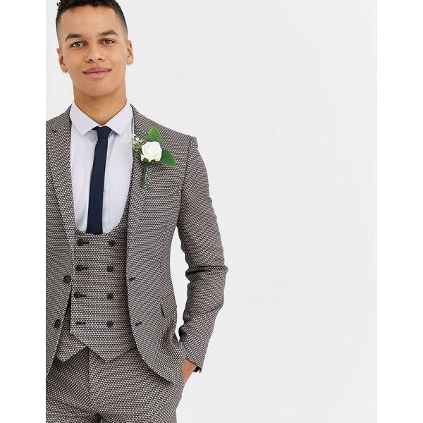 エイソス メンズ ジャケット&ブルゾン アウター ASOS DESIGN wedding super skinny suit jacket in micro texture in tan Tan
