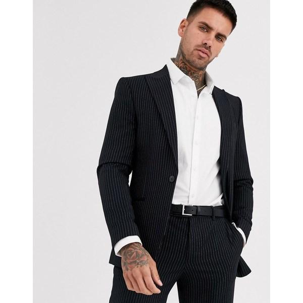 リバーアイランド メンズ ジャケット&ブルゾン アウター River Island suit jacket in dark navy pinstripe Navy