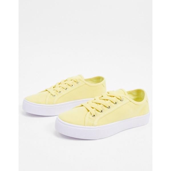 エイソス レディース スニーカー シューズ ASOS DESIGN Dizzy lace up sneakers in lemon Lemon