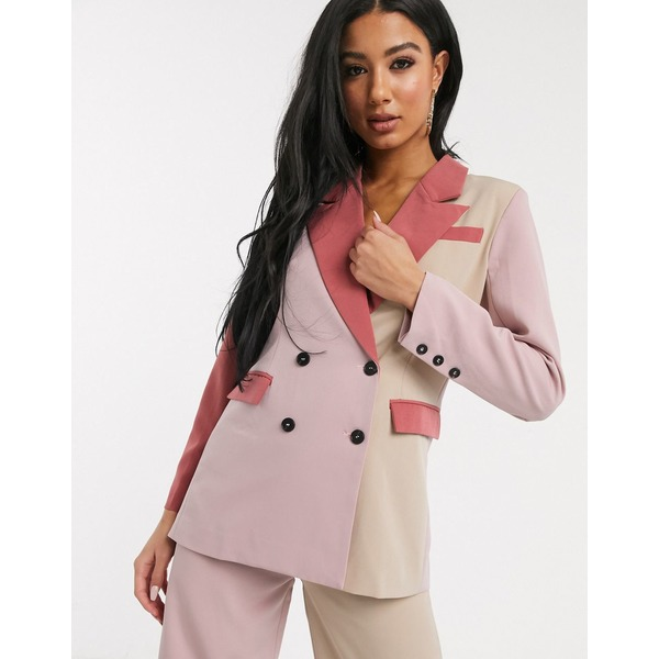 ユニーク21 レディース ジャケット ブルゾン アウター Unique21 contrast paneled blazer in cream and pinks Cream pinkIDHE92YW