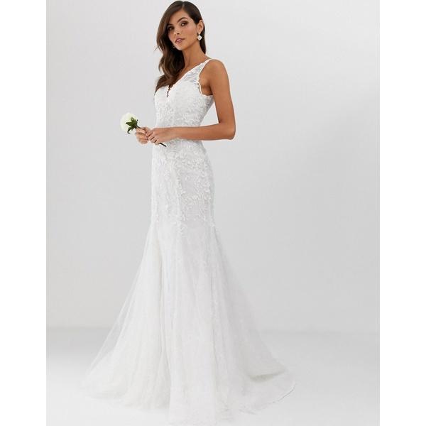 エイソス レディース ワンピース トップス ASOS EDITION embroidered mesh over lace fishtail wedding dress Ivory