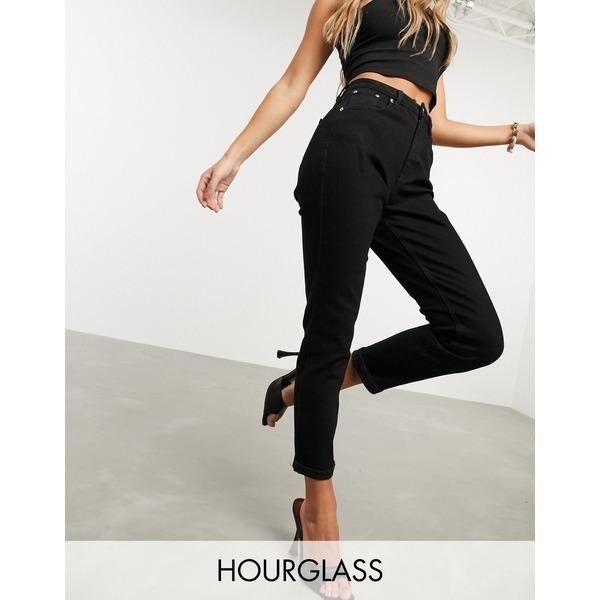 エイソス レディース デニムパンツ ボトムス ASOS DESIGN Hourglass high rise 'Farleigh' slim mom jeans in black Black