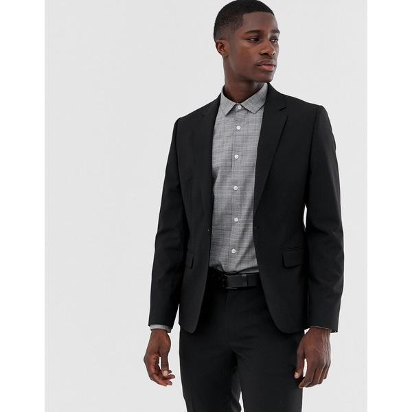 エイソス メンズ ジャケット&ブルゾン アウター ASOS DESIGN skinny suit jacket in black Black