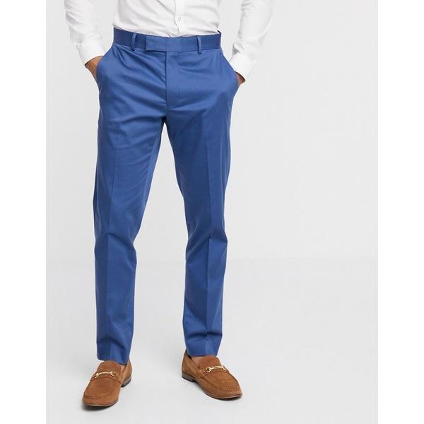 エイソス メンズ カジュアルパンツ ボトムス ASOS DESIGN wedding slim suit pants in blue stretch cotton Blue
