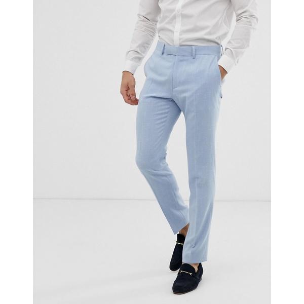 エイソス メンズ カジュアルパンツ ボトムス ASOS DESIGN wedding skinny suit pants in blue cross hatch Light blue